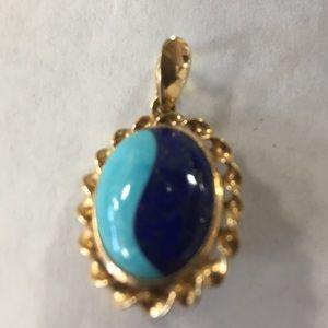 Jewelry - 585 14k Gold Turquoise Lapis Pendant Pin, MO310